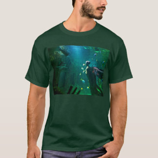 "Underwater World Shark ""Attack"" Dark Green T-shirt"