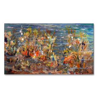 Underwater World Tropical Fish Aquarium Painting Business Card Magnet