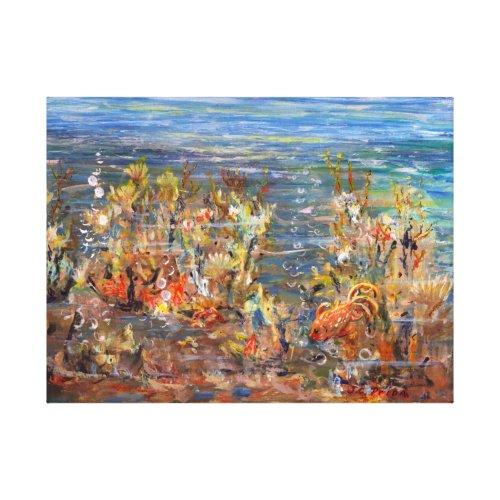 Underwater World Tropical Fish Aquarium Painting Canvas Print