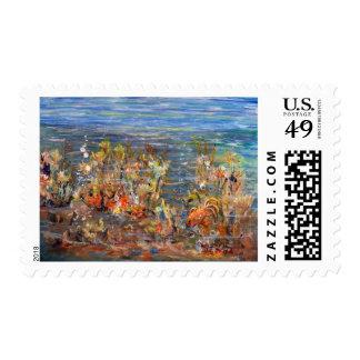 Underwater World Tropical Fish Aquarium Painting Stamp