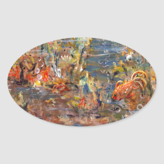 Underwater World Tropical Fish Aquarium Painting Oval Sticker