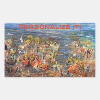 Underwater World Tropical Fish Aquarium Painting Rectangular Sticker
