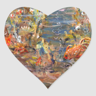 Underwater World Tropical Fish Aquarium Painting Heart Sticker