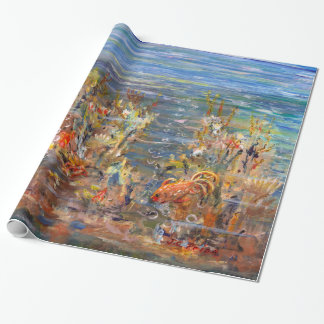 Underwater World Tropical Fish Aquarium Painting Wrapping Paper
