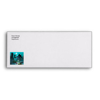 Underwater world with funny playing orcas envelope