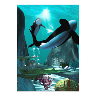 """Underwater world with funny playing orcas 5"""" x 7"""" invitation card"""