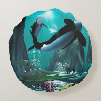 Underwater world with funny playing orcas, round pillow