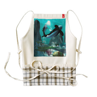 Underwater world with funny playing orcas zazzle HEART apron