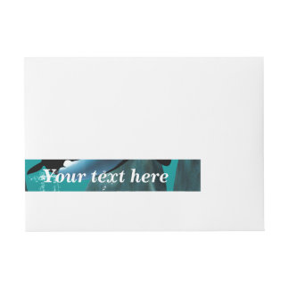 Underwater world with funny playing orcas, wraparound address label