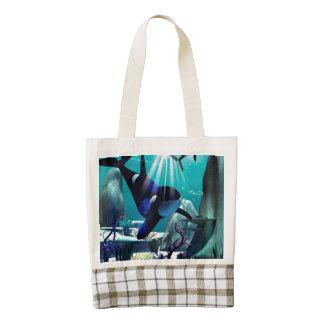 Underwater world zazzle HEART tote bag