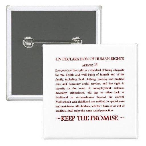 UNDHR Article 25 2 Inch Square Button