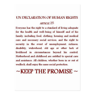 UNDHR Article 25 Postcard