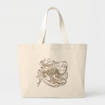 Art Themed Undine Large Tote Bag