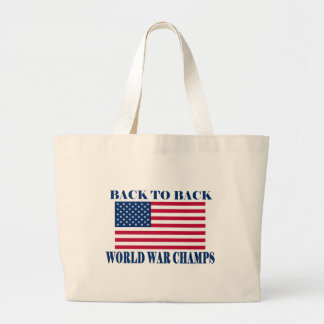 Undisputed World War Champions, American Flag Large Tote Bag