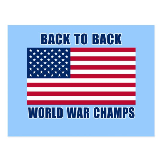 Undisputed World War Champions with American Flag Postcard