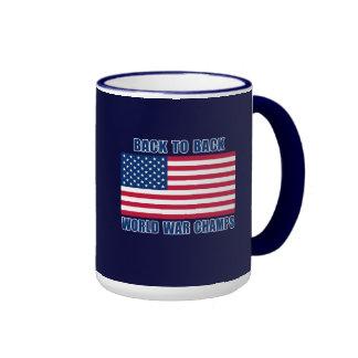 Undisputed World War Champions with American Flag Ringer Mug