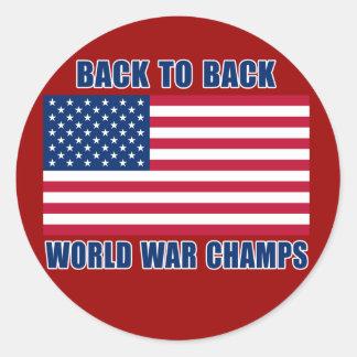 Undisputed World War Champions with American Flag Round Sticker