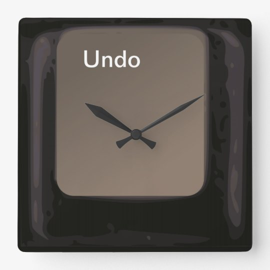 Undo Button / Key Square Wall Clock