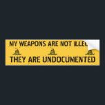"Undocumented Weapons Bumper Sticker<br><div class=""desc"">Patriotic Second Amendment Sarcastic Sticker</div>"
