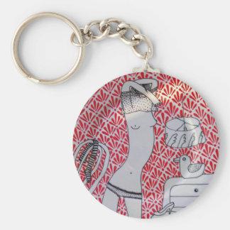Undressing Basic Round Button Keychain