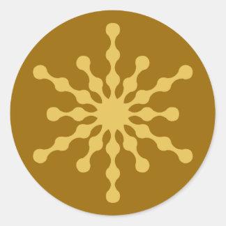 Undulating Gold Christmas Snowflake Classic Round Sticker