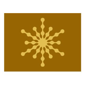 Undulating Gold Christmas Snowflake Postcard