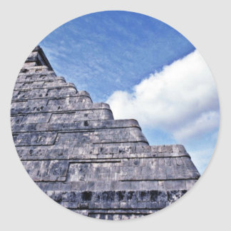 Undulating Serpent Shape Of El Castillo Classic Round Sticker