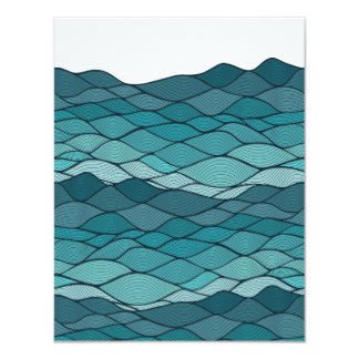 Undulating Striped Blue Waves Pattern Card
