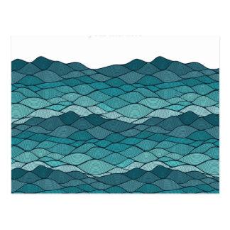 Undulating Striped Blue Waves Pattern Postcard