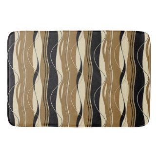 Undulating Waves Black Brown & Cream Bathroom Mat