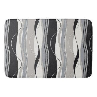 Undulating Waves Black Grey & White Bathroom Mat