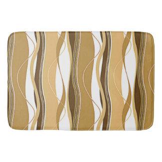 Undulating Waves Brown Tan & White Bathroom Mat