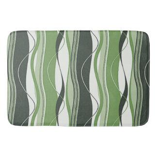 Undulating Waves Greens & White Bathroom Mat