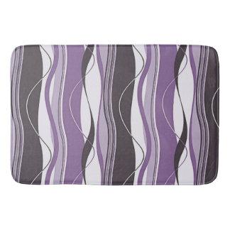 Undulating Waves Purples & White Bath Mat
