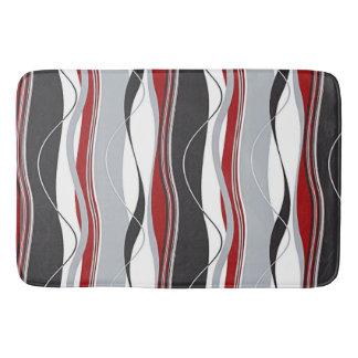 Undulating Waves Red, White, Black & Grey Bathroom Mat