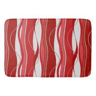 Undulating Waves Reds & White Bathroom Mat