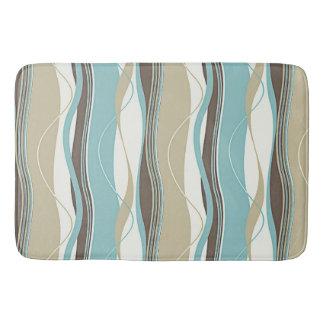 Undulating Waves Turquoise White & Beige Bath Mat