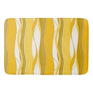 Undulating Waves Yellow, Gold & White Bathroom Mat