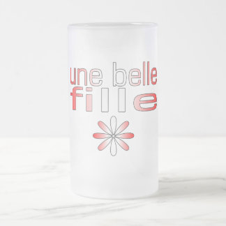 Une Belle Fille Canada Flag Colors 16 Oz Frosted Glass Beer Mug