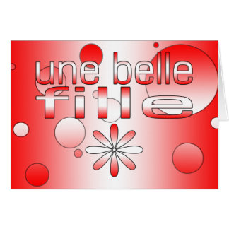 Une Belle Fille Canada Flag Colors Pop Art Card