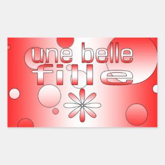 Une Belle Fille Canada Flag Colors Pop Art Rectangular Sticker