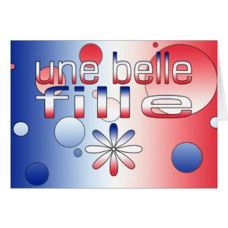 Une Belle Fille France Flag Colors Pop Art Card
