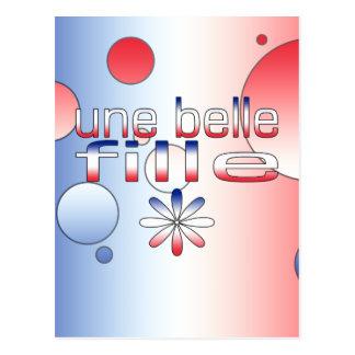 Une Belle Fille France Flag Colors Pop Art Postcard