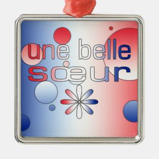 Une Belle Sœur France Flag Colors Pop Art Christmas Ornament