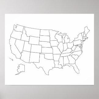 Une el poster del esquema del mapa de los estados