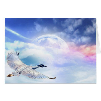 Unearthly Migration Egret in Space Card