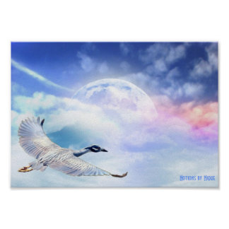 Unearthly Migration Egret in Space Poster