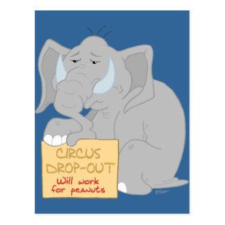 Unemployed Circus Elephant Postcard