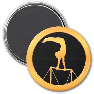 Uneven Bars Gold Gymnast 3 Inch Round Magnet