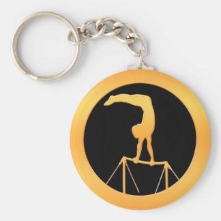 Uneven Bars Gold Gymnast Basic Round Button Keychain